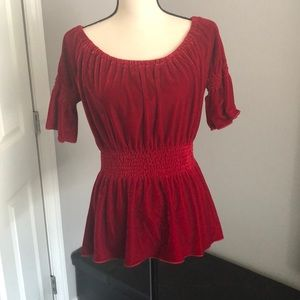 Beautiful velour deep ruby red blouse